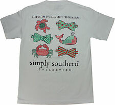 Simply Southern Tees Short Sleeve Preppy All Over, Life is Full of Choices White