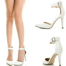 White Pointy Toe Ankle Strap Mary Jane Med High Stiletto Heel Women Classic Pump