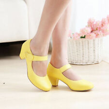 Sweet Women Mary Jane Candy Color Date Block Heel Belt Round Toe shoes Plus size