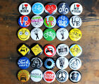 "30 x 1"" BIKE BUTTONS critical mass cyclist bicycle fixie punk badges pins love"