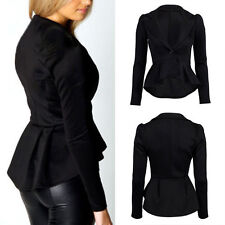 New Womens Long Sleeve OL Jacket Suit Blazer Dovetail Coat Lapel One Button Tops