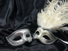 Feather Couple Masquerade Mask Set Costume Prom Birthday Wedding Bachelor Party