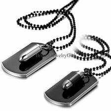 New Military Army Style Black Dog Tag Bullet Pendant Men's Necklace with Chain