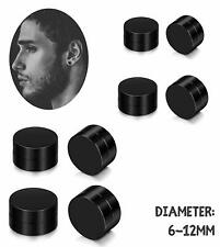 1Pair Black Round Magnetic Clip On Ear Stud Earrings No Piercing Mens Women Goth