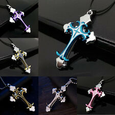 New Unisex's Men Stainless Steel Cross Necklace Pendant Gold/Silver/Blue/Pink