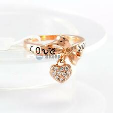 18K Gold Plated Fashion Engagement Jewelry Crystal Rhinestone LOVE Heart Ring