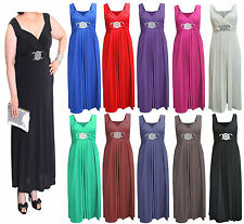 Ladies Womens Long Bridesmaid Ball Party Cocktail Evening Prom Buckle Maxi Dress