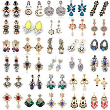 1 Pair New Elegant Women Vintage Style Fashion Rhinestone Dangle Stud Earrings