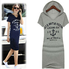 Fashion Women Casual Letter Print Cotton Fitted Hoodie Long Sweatshir Mini Dress