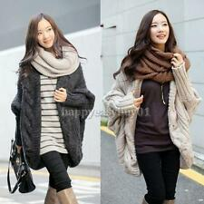 Women Loose Oversized Knitted Sweater Batwing Sleeve Tops Cardigan Outwear Coat