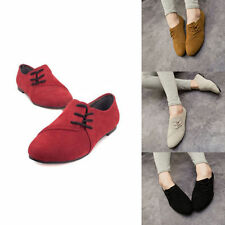Europe Lady Womens Nubuck Leather Flat Pumps Shoes Lace-up Casual Sneaker Colors