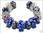15 Lampwork Glass Beads Handmade Cobalt Blue Pink Flower Jewelry Making Rondelle