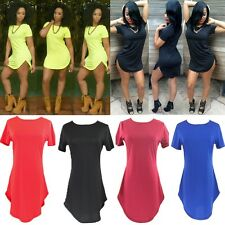 Fashion Woman Summer Cropped Short Sleeve Side Slit Casual Cotton T-shirt Dress