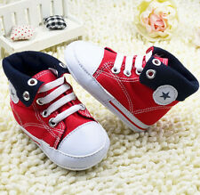 infant Toddler Baby Girl boy Red soft sole Crib Shoes sneaker size 0-18 months