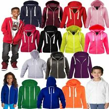 Kids Unisex Fleece Plain Hoodie Girls Boys Sweatshirt Zipper Years 1-13