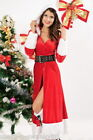 Ladies Sexy Miss Mrs Santa Christmas Xmas Velvet Fancy Dress Costume Outfit 8-10