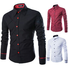100% Cotton Mens Long Sleeve Slim Fit Dress Casual Formal Shirts Concise Fashion