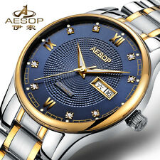 Luxury Mens Watches Automatic Sapphire Glass Blue Dial Diamond Waterproof Watch