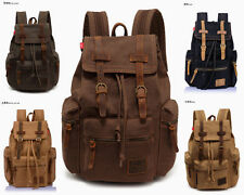 Men's Canvas Crazy Leather Hiking Travel Military Backpack Satchel School bag