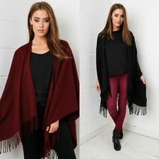 Miss Foxy Oversized Winter Cape With Tasselled Hem in Maroon Or Black One Size