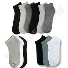 12 Pairs Lot  Men  Women 9-11 10-13 Crew Ankle Cut Sports Socks Black White Gray