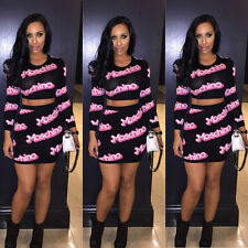 Womens Crop Top and Skirt Set Sexy Long Sleeve Two-piece Bodycon Midi Club Dress