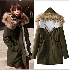 Womens Winter Fur Hooded Cotton Padded Jacket Trench Coat Long Overcoat Parka