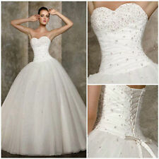 New White/ivory Bride Bridesmaid Wedding Gown Prom Ball Dress stock Size 6-18