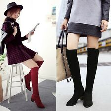 Riding Over Knee High Boots Block Heels Pull ON Faux Suede Autumn Fashion SHoes