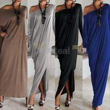 Plus Size Womens Sexy Long Sleeve Maxi Dresses Casual Loose Party Long Dress