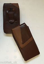 Quality Leather Clip Belt Loop Pouch Holster Brown Case Cover For Samsung Galaxy