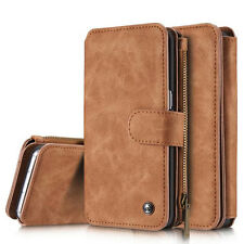 2 in 1 Book Flip Case Leather Magnetic Wallet Pouch Detachable Hard Cover Case