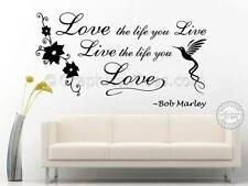 Bob Marley, Love The Life You Live, Song Lyrics Inspirational Wall Sticker Quote