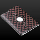 New 360° Rotating Check Pattern PU Leather Stand Case Cover For Apple iPad 2/3