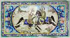 19th Century Persian glazed pottery tiles depicting horses with soldiers,Isfahan