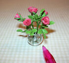 Miniature Glass Vase-Red Roses-Resin Water DOLLHOUSE Miniatures 1/12 Scale