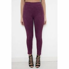 Miss Foxy Ladies Womens Faux Panelled High Waisted Suede Trousers in Berry 8-14
