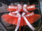 orange Organza ivory ribbon Wedding Garter set any size,color or style.