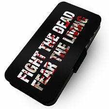Fight The Dead - Printed Faux Leather Flip Phone Cover Case Parody Walking Dead