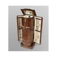 Antique Jewelry Armoire Vintage Cabinet Wood Chest Box Drawers Organizer Storage