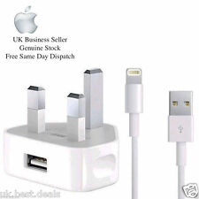 100% GENUINE MAINS WALL CHARGER PLUG & USB Cable FOR APPLE IPHONE 6 5 IPAD IPOD