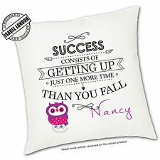 Personalised Success  Cushion Cover.Personalise with your own text -ILVC1064