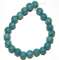 CPC178f Teal Blue 9mm - 10mm Round Porcelain Beads 8""