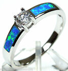 White Topaz & Blue Fire Opal Inlay 925 Sterling Silver Solitaire Ring 6,7,8,9