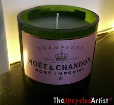 Moet & Chandon Champagne Bottle Candle Vanilla Lavender Scented Upcycled