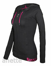 BENCH BIRCHIR Full Length Zip Ladies Girls Black Hoodie Snap Pockets Fitted New