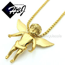 """18-32""""MEN Stainless Steel 2mm Gold Box Link Chain Necklace ANGEL 3D Pendant*GP48"""