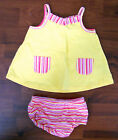 Girls FADED GLORY 2pc Yellow Pink White Cotton Stripe Pocket Dress 0-3 Months