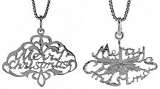 """.925 Sterling Silver Merry Christmas Religious Pendant 18"""" Box Chain"""