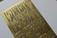 2 Sheets of GOLD Funky Heart Peel off stickers- wedding invitations